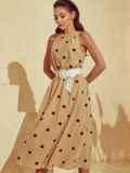 Бежевое платье в горох с американской проймой 53929, фото 3