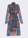 Шифоновое платье с геометрическим принтом и воротником-аскот коричневое 53078, фото 8