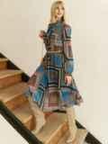 Шифоновое платье с геометрическим принтом и воротником-аскот коричневое 53078, фото 5