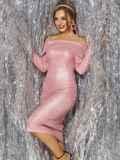 Розовое платье-миди с напылением и открытыми плечами 42689, фото 2