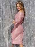 Розовое платье-миди с напылением и открытыми плечами 42689, фото 3