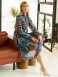 Шифоновое платье с геометрическим принтом и воротником-аскот коричневое 53078, фото 6