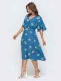 Приталенное платье с принтом голубое 46846, фото 2