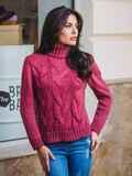 Свитер с объемной горловиной и рельефной вязкой на полочке бордовый - 13022, фото 1 – интернет-магазин Dressa