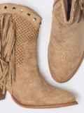 Демисезонные ботинки с бахромой бежевые 51369, фото 3