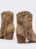 Демисезонные ботинки с бахромой бежевые 51369, фото 5