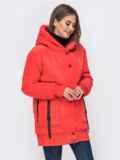 Куртка на молнии с глубоким капюшоном красная 41409, фото 2