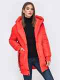 Куртка на молнии с глубоким капюшоном красная 41409, фото 4